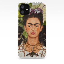 """Frida Kahlo Exhibition Art Poster - """"Self-Portrait with Thorn Necklace and Hummingbird"""" 1988 iPhone Case"""
