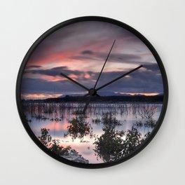 Last light. Sunset at the lake Wall Clock