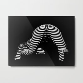 7454-KMA Striped Woman Head Down Bottom Up Black White Photo Metal Print