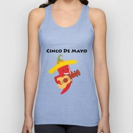 Happy Cinco De Mayo Pepper Playing Guitar Unisex Tank Top