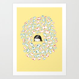 she mostly dreams in cats  Art Print