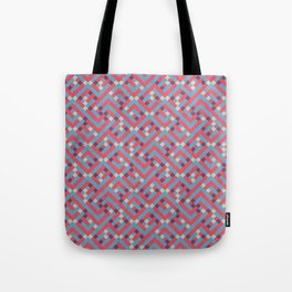 Geometric Labyrinth Red And Blue Tote Bag
