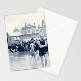 On the beach in 1900, history swimwear Stationery Cards