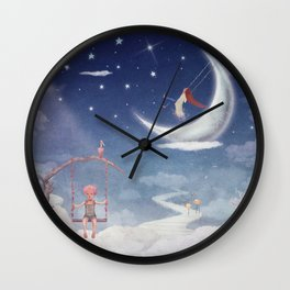 City of children on  fantastic clouds in the sky Wall Clock