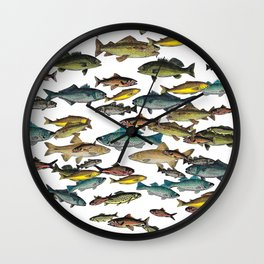 Fish Beach Nautical multicolor and black and white Wall Clock