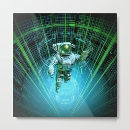Diving The Data Core Metal Print
