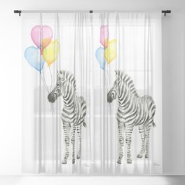 Zebra Watercolor With Heart Shaped Balloons Sheer Curtain