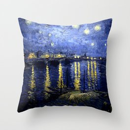 """Vincent Van Gogh """"Starry Night Over the Rhone"""" Throw Pillow"""