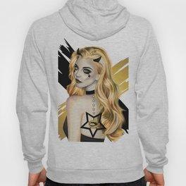 Golden Devil - Devil girl stylized vector portrait Hoody