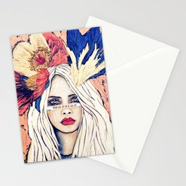 WARRIOR GIRL PAINTING Stationery Cards