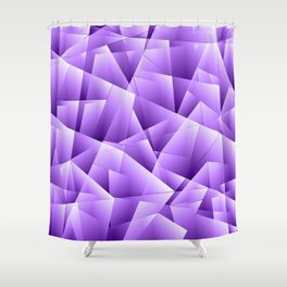 Light overlapping sheets of violet paper triangles. Shower Curtain