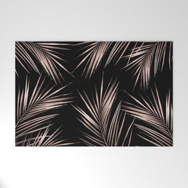 Rosegold Palm Tree Leaves on Midnight Black Welcome Mat