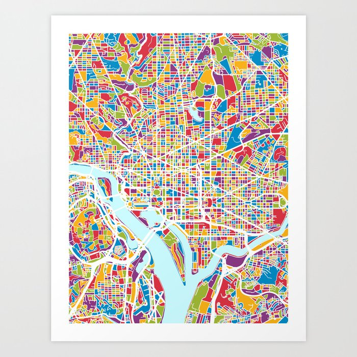 graphic relating to Washington Dc Printable Map identify Washington DC Road Map Artwork Print through artpause