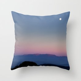 The moon over Rila Moutain Throw Pillow