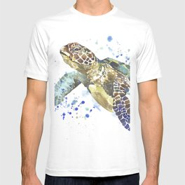 Abstract Watercolor Sea Turtle on White 2 Minimalist Coastal Art - Coast - Sea - Beach - Shore T-shirt