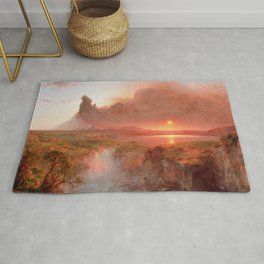 Frederic Edwin Church - Eruption at Cotopaxi - Hudson River School Oil Painting Rug