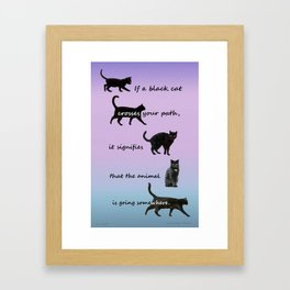Black cat crossing Framed Art Print