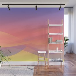 Pastel Gradient Ombre Pink, Purple, Yellow Whimsical Wavy Lines Wall Mural