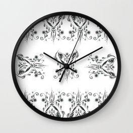 Owl flying with a necklace of flowers and shells Wall Clock