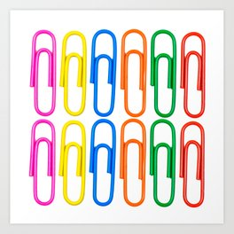 pattern of decorative colored clips Art Print