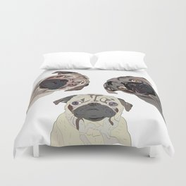Triple Pugs Duvet Cover