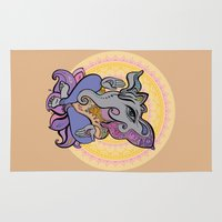 hindu Area & Throw Rugs featuring Hindu God Ganesha. Hand drawn illustration. by Katyau