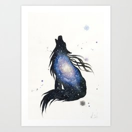 Milky Way Galaxy Wolf Art Print