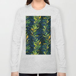 Blue and Green Seaweed Pattern Long Sleeve T-shirt