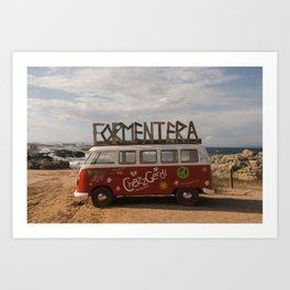 Formentera surfer bus- travel photography- Camping van parked on the beach in Fomenter, Spain Art Print