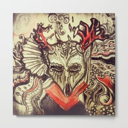 """Day of the Dead Animals, Deer"" Metal Print"