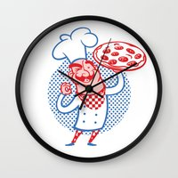 chef Wall Clocks featuring Pizza Chef by drawgood