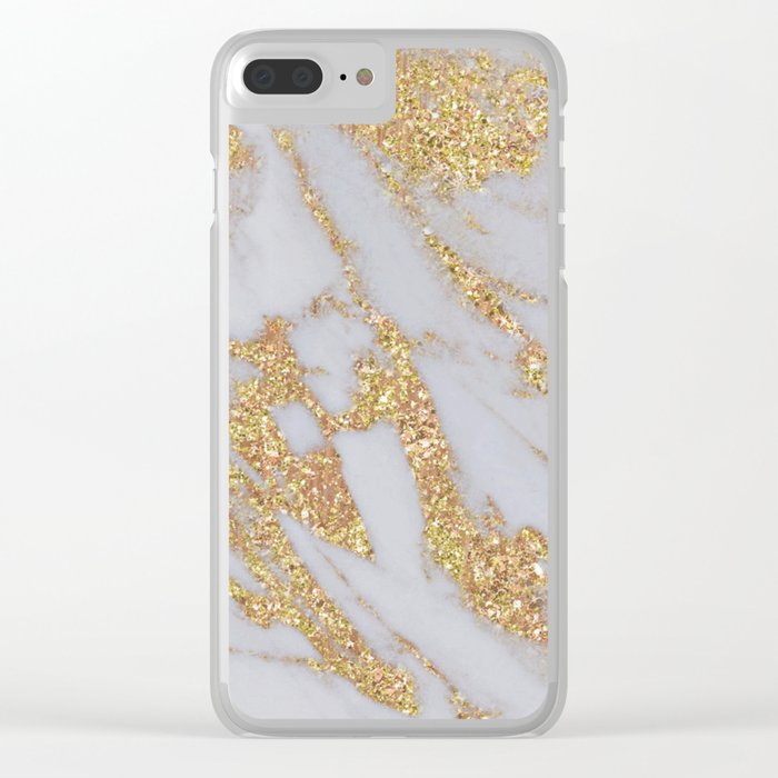 Pink + Gold Glitter Marble Clear iPhone Case