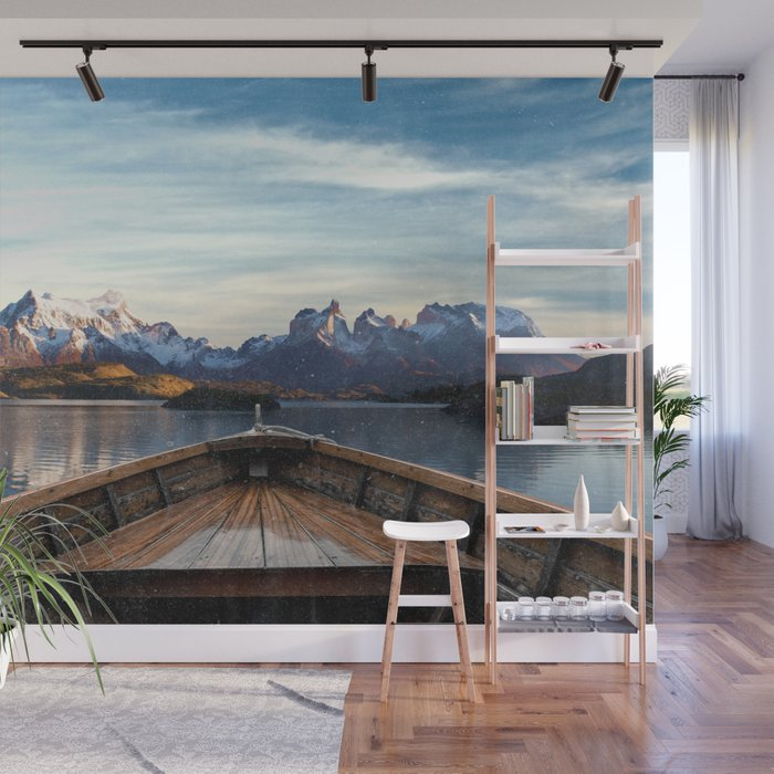 Torres del Paine National Park Chile, The Boat in Patagonia Wall Mural