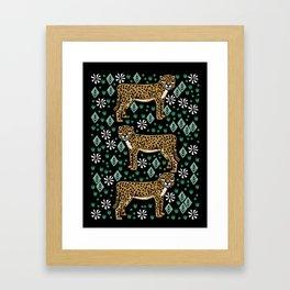 Cheetah - linocut art print, safari art, animals, cheetah art, kids art prints Framed Art Print