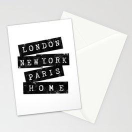LONDON, NEW YORK, PARIS, HOME USED LOOK Stationery Cards