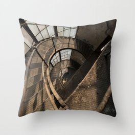 The world needs more spiral staircases. Abandoned power station. Throw Pillow
