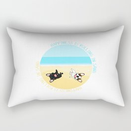 Frenchies Rolling In The Sand Rectangular Pillow