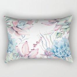 Pretty Pastel Succulents Garden 2 Rectangular Pillow