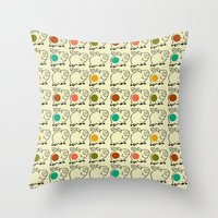 pigs Throw Pillows featuring pigs by ururuty