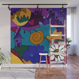 """""""Before the Celebration"""" bold, colorful doodle art Wall Mural"""