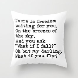 What if you fly? Vintage typewritten Throw Pillow