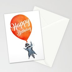 Raccoon and Balloon Stationery Cards