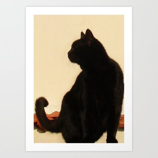 Side View Silhouette of A Black Cat Sitting On A Roof Art Print