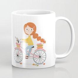 Bicycle Reading with Dachshund Coffee Mug