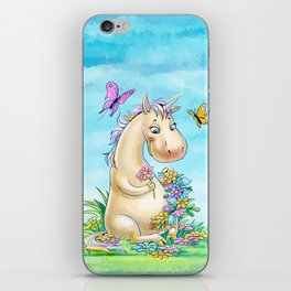 Unicorn in flowers iPhone Skin