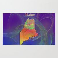 maine Area & Throw Rugs featuring Maine Map by Roger Wedegis