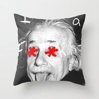 einstein Throw Pillows featuring Einstein  by Hijack:D