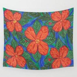 Luau Flower Print Wall Tapestry