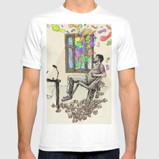 Creative Block White MEDIUM Mens Fitted Tee