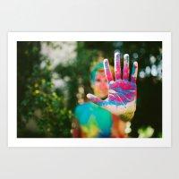 Mr. Rainbow Hand Art Print